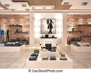 Modern men's fashion store in the mall. 3d illustration