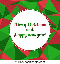 Modern Merry Christmas and Happy new year card with colorful bac