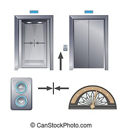 Modern metal elevator with buttons and decorative part