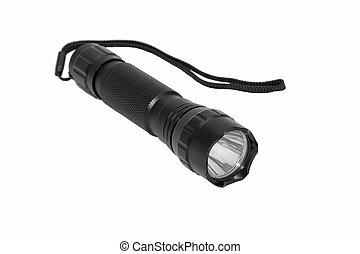 Modern metal flashlight.