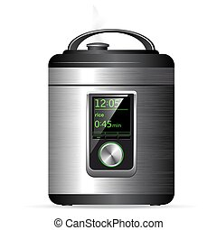 Modern metal Multicooker. Pressure cooker for cooking food under pressure. Electronic control. Side view.