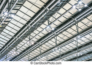 Modern metal roof structure of airport architecture .