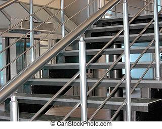 modern, metallisch, treppe