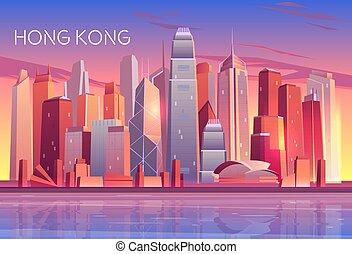 Modern metropolis cartoon vector background