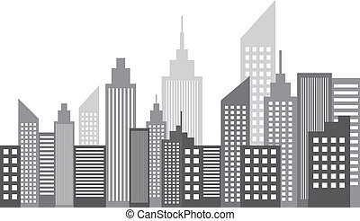 Modern Metropolis City Skyscrapers Skyline Vector...
