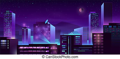 Modern metropolis night buildings cartoon vector