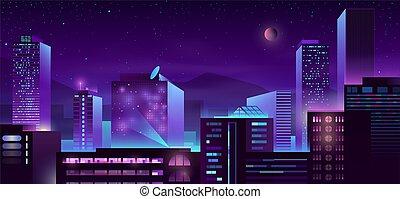 Modern metropolis night buildings cartoon vector