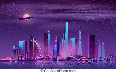 Modern metropolis night cityscape cartoon vector