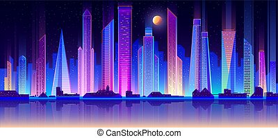 Modern metropolis night cityscape flat vector