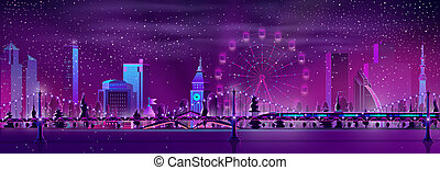 Modern metropolis night landscape cartoon