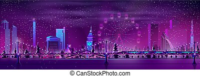 Modern metropolis night landscape cartoon vector