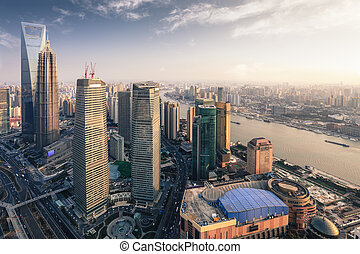 modern metropolis of shanghai at dusk, aerial view from the ...