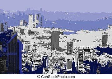 modern metropolis, realistic grunge style in duochrome palette