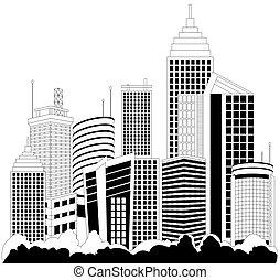 Modern metropolis skyscrapers