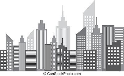 modern, metropolis, város, felhőkarcoló