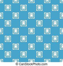 Modern microchip pattern vector seamless blue
