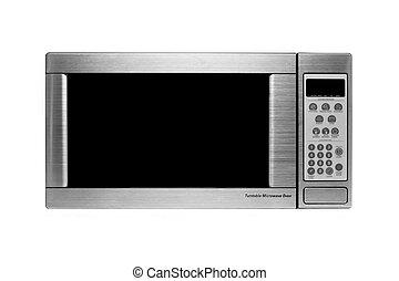 microwave oven shot over white, modern stainless steel design