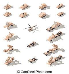 Modern military equipment in desert camouflage isometric...