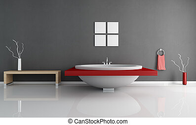 modern minimal bathroom with fashion white and red round...