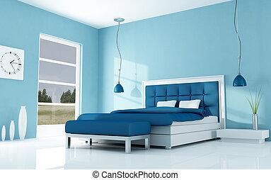 modern minimal bedroom - blue bedroom of a holyday villa -...