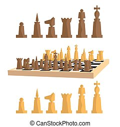 Modern minimal chess set and chess board with pieces apart. Simple flat vector Illustration.