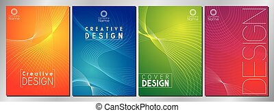 Modern, minimal cover design with stripes - vector illustration