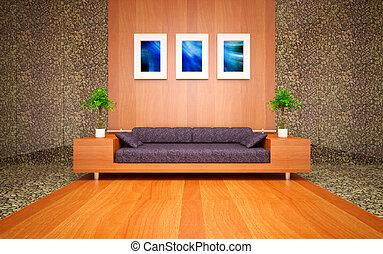 Modern minimal living room - modern living room with sea...
