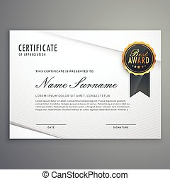 modern minimal style certificate of appreciation template with best award badge