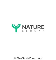 Modern minimal tree logo design. Natural theme logo design with abstract shapes that resemble trees.