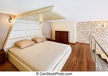 Modern minimalism style bedroom interior in beige tones