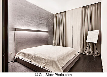 Modern minimalism style bedroom interior in monochrome tones