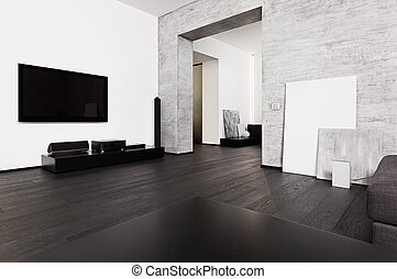 Modern minimalism style drawing-room interior in black and white tones