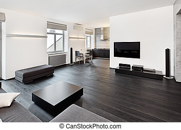 Modern minimalism style sitting room interior in black and...