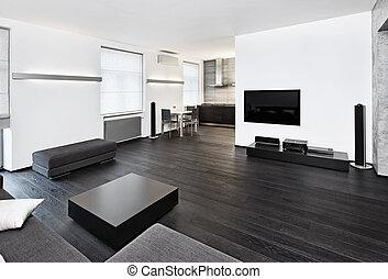 Stil, zimmer, sitzen, modern, minimalismus, schwarz, töne ...