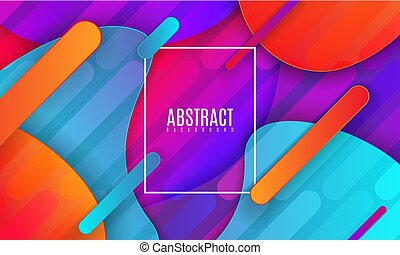 Modern minimalist cover design. Vector abstract banner with flowing dynamic gradient shapes. 3d layered paper poster.