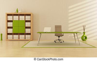 green office - modern minimalist green office - rendering
