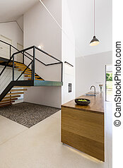 Modern minimalist kitchen and staircase