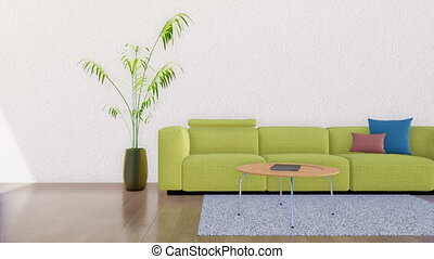 Modern minimalist living room interior 3D - Green sofa,...