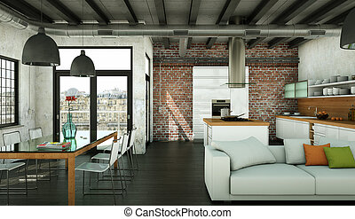 Modern minimalist living room interior in loft design style with sofas
