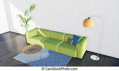 Modern minimalist living room interior with sofa