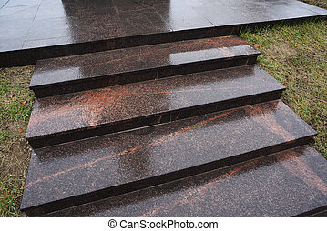 Modern minimalist style black granite staircase copyspace