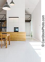 Modern minimalist wooden white kitchen