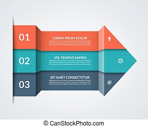 Modern minimalistic infographics. Big paper arrow of 3 colored horizontal strips. Can be used for graph, chart, step options, web design. Vector layout template
