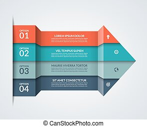 Modern minimalistic infographics. Big paper arrow of 4 colored horizontal strips. Can be used for graph, chart, step options, web design. Vector layout template