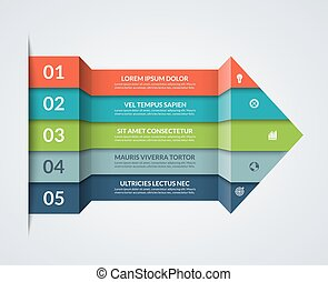 Modern minimalistic infographics. Big paper arrow of 5 colored horizontal strips. Can be used for graph, chart, step options, web design. Vector layout template