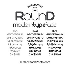 Modern minimalistic black sans serif font Round on the white background. Vector illustration
