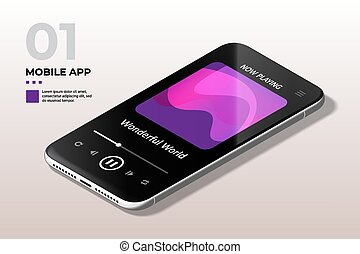 Modern Mobile Cell Phone with Audio Player UI, UX and GUI Template.