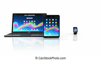 Creative abstract mobility and modern internet business communication technology web concept: 3D rendered 4K video footage of smartphone or mobile phone, tablet computer PC, laptop or notebook and smartwatch or clock or fitness tracker with colorful screen interfaces isolated on white background ...