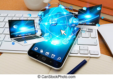 Modern mobile phone connecting tech devices - Modern mobile...