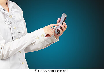 Modern mobile phone in a woman hand